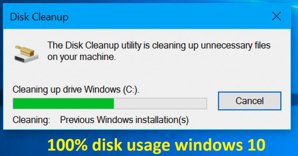 100% disk usage windows 10