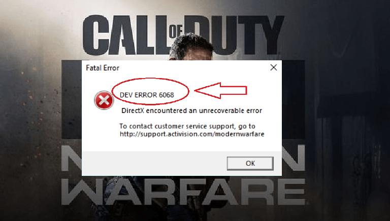 Dev error 6068