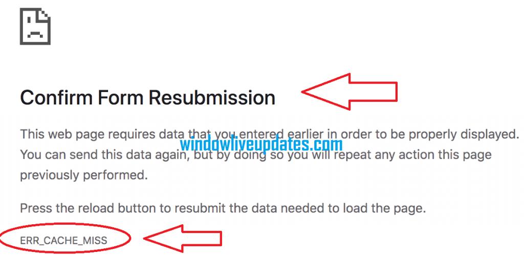 ERR_CACHE_MISS Error In Windows