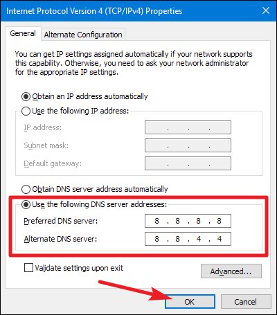 Change your DNS server settings