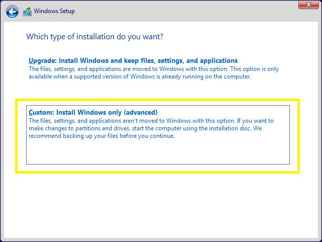 windows custom install