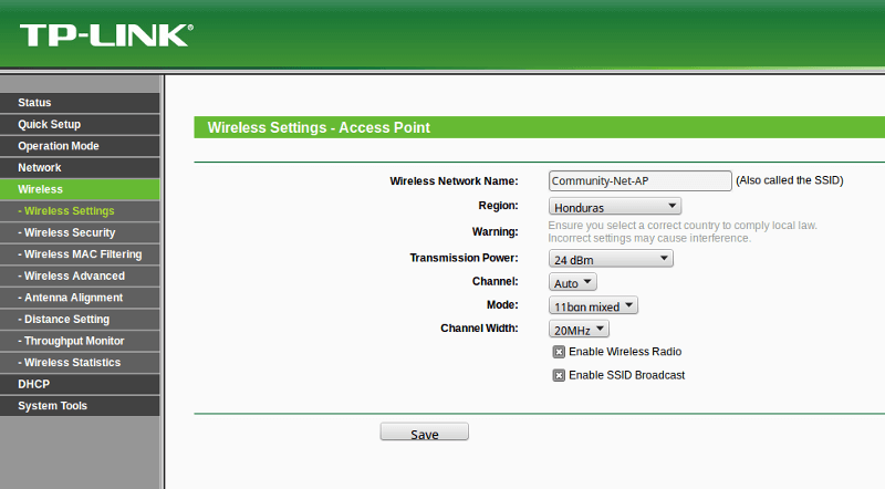 Access point settings - connected to wifi but no internet